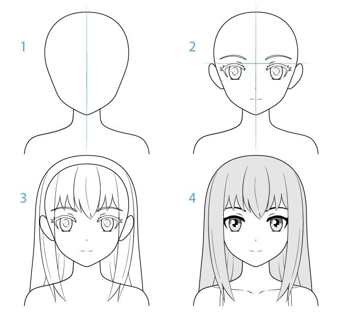 Gambar wajah karakter anime wanita selangkah demi selangkah