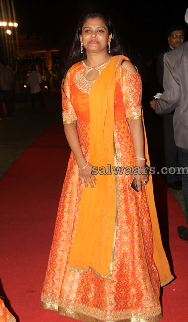 Orange Benaras Floor Length Salwar