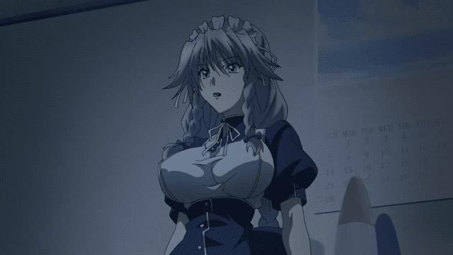 grayfia menggunakan pakaian pelayan yang membuatnya tampak seksi