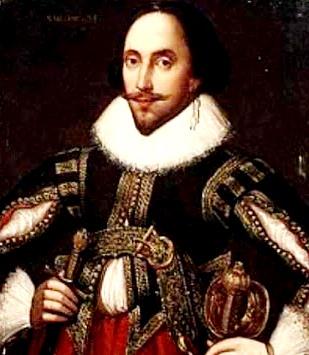 Foto a la pintura de William Shakespeare a colores