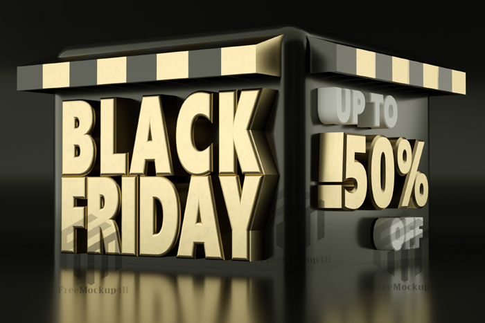 3D Rendering Black Friday Sale Banner With Discount Details