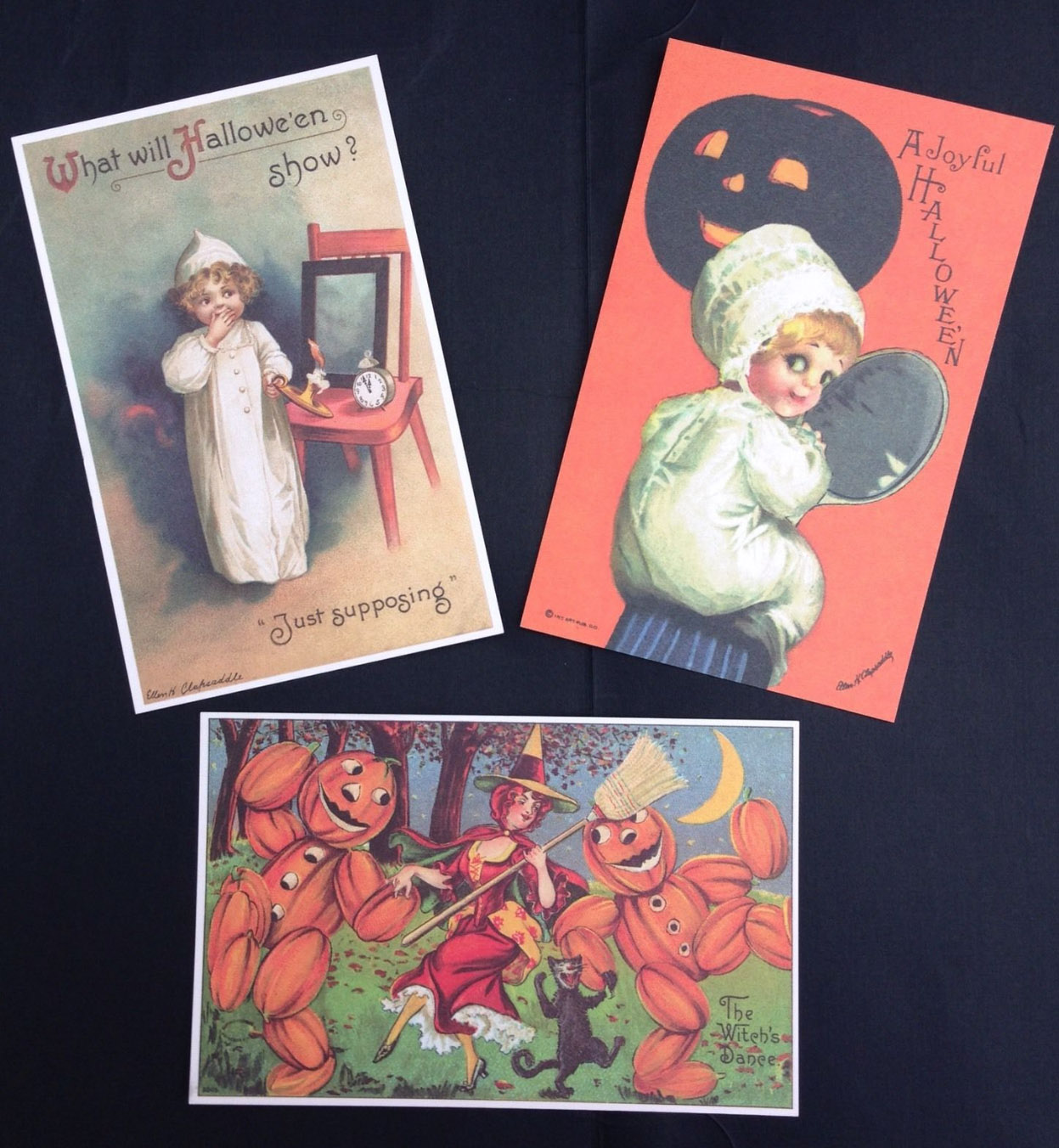 ebay listing for three vintage halloween cards