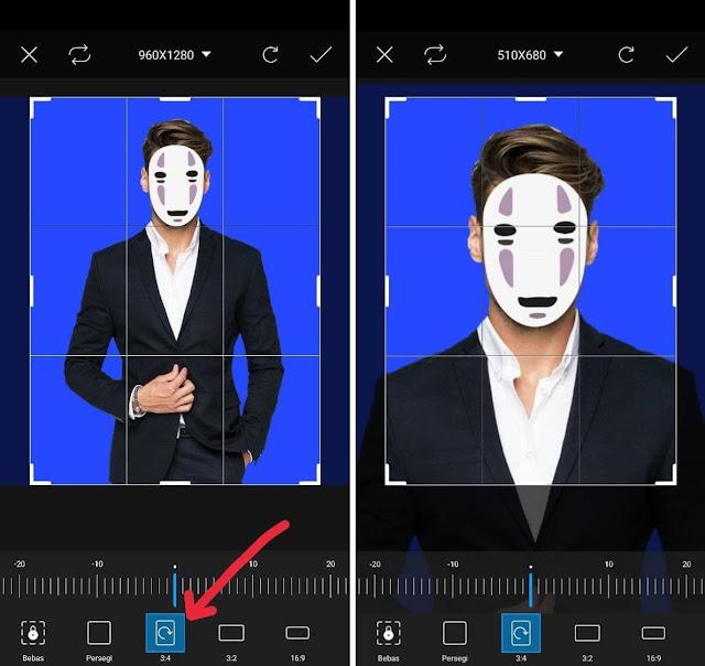 potong foto 3x4 di aplikasi picsart
