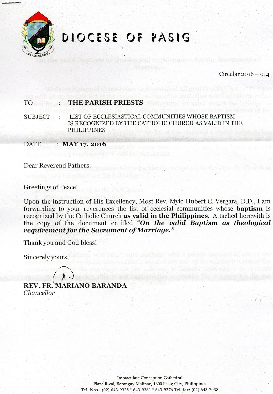 Diocese Of Pasig List Of Ecclesiastical Communities Whose Baptism
