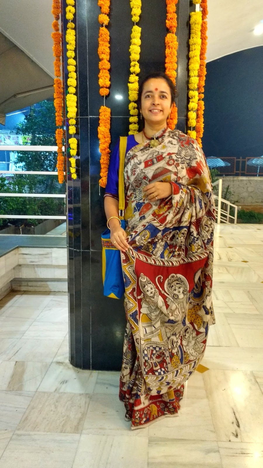 Wearing a Khun blouse with a Kalamkari