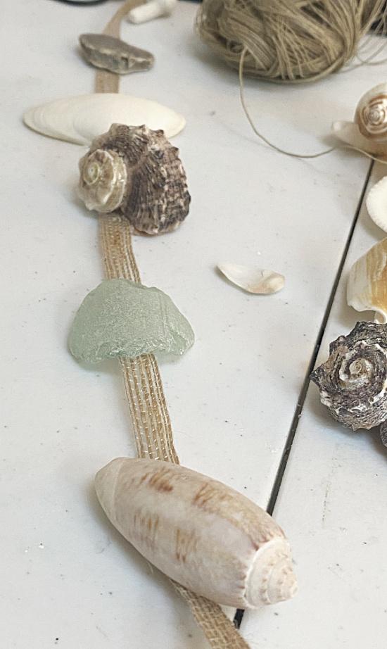 shells hot glued to ribbon