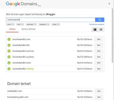 Pilih domain untuk membuat menjadi TLD