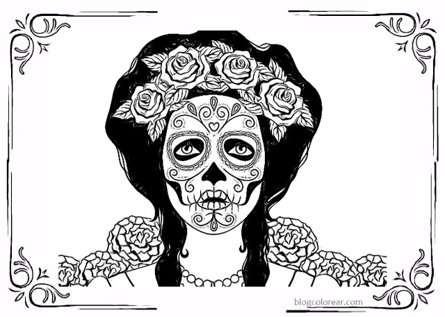 colorear día de los muertos catrina