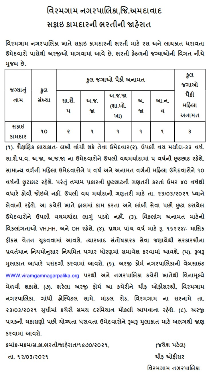 Viramgam Nagarpalika recruitment for Safai Kamdar 2021: Find All Details here