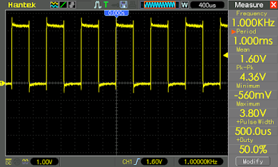 1 kHz square wave produced by state machine