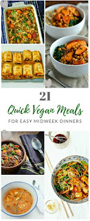 Meals often have to be a speedy affair midweek. Speed things up with 21 tasty and quick vegan midweek meals. #quickvegan #vegan #veganmeals #veganrecipes #quickveganrecipes
