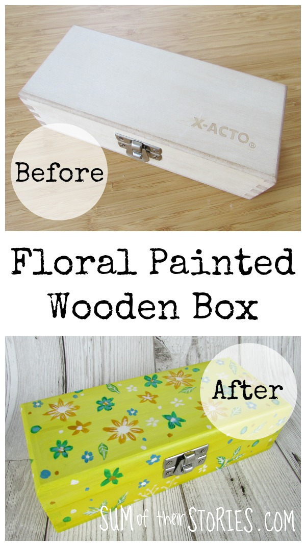 Floral Painted Wooden x-acto knife box makeover