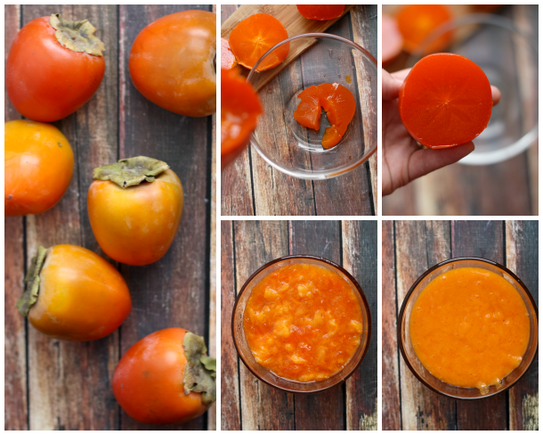persimmons, from fruit to puree