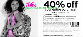 Justice For Girls coupons for february 2017