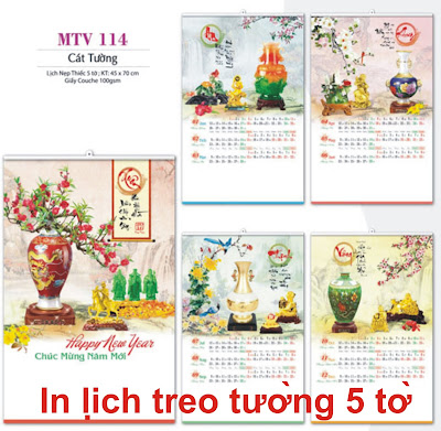 in lịch nẹp thiếc 5 tờ