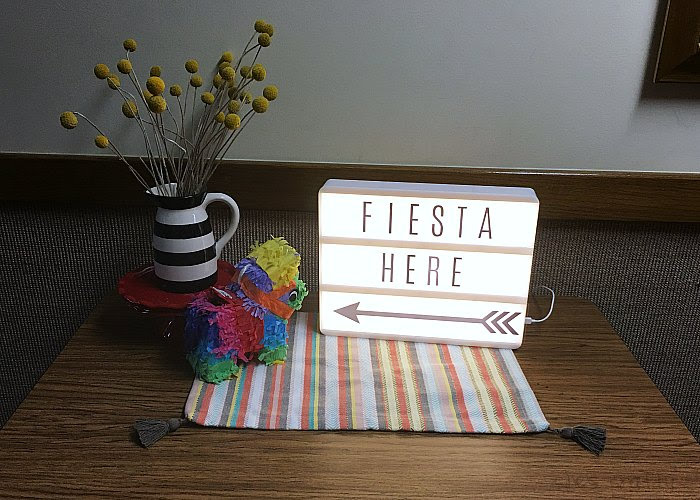 Taco Bar Relief Society Party Idea - Taco 'Bout Fun meet and greet party decorations - light box