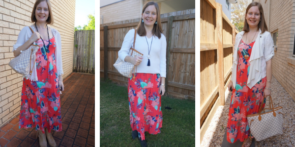 3 white layered outfit ideas for a bright floral tiered maxi dress awayfromblue