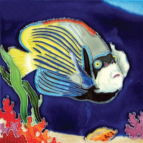Marine Fish Blue With Yellow Stripes Tile Wall Decor