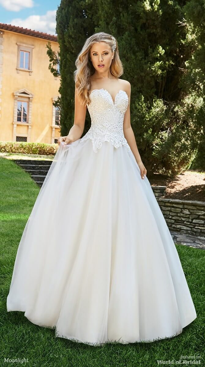 a4e7d947907 Moonlight Bridal Spring 2018 Simple Tulle A-line Drop Waist Wedding Dress  Looking for ...