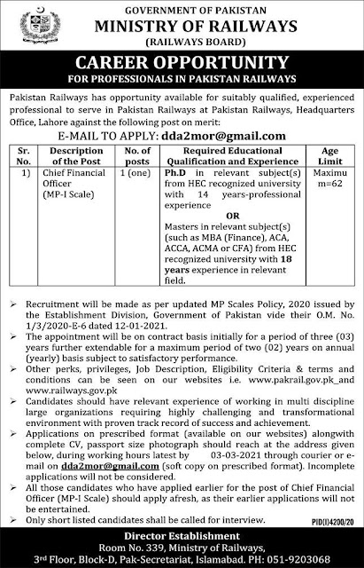 Ministry Of Railways Jobs For Chief Financial Officers