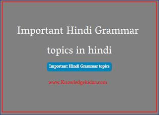 Important Hindi Grammar topics in hindi