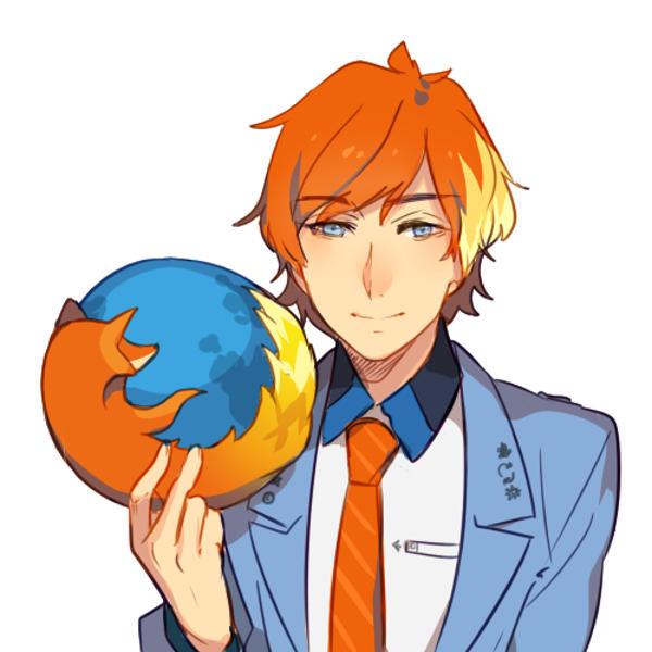 Firefox jako rudy mężczyzna z anime