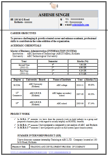 over 10000 cv and resume samples with free download  mba information technology  it  resume format