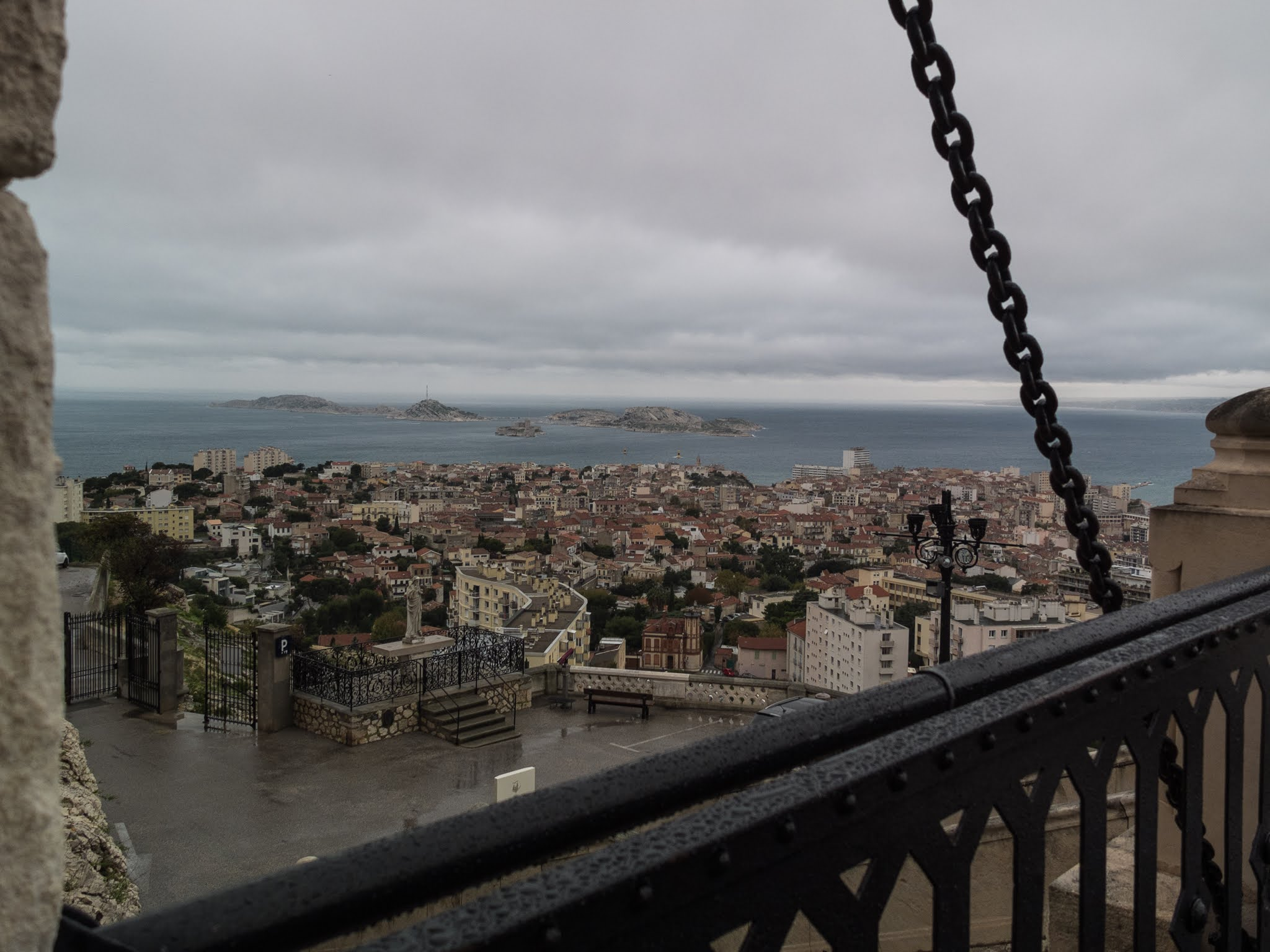 View of Marseille and its islands from the drawbridge in the Basilica of Notre Dame de la Garde.