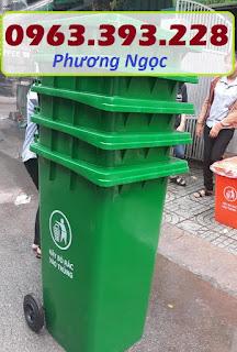 Thùng rác nhựa 240 lít nắp kín,thùng rác 2 bánh xe nhựa HDPE,thùng rác nhựa 240L TR240L3
