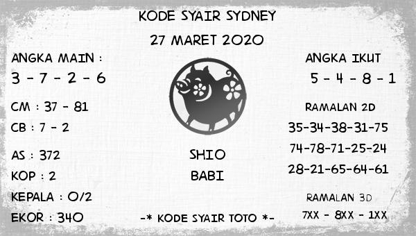 Prediksi Togel Sidney Jumat 27 Maret 2020 - Kode Syair Sydney