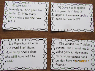Addition and Subtraction to 10 Word Problems Task Cards