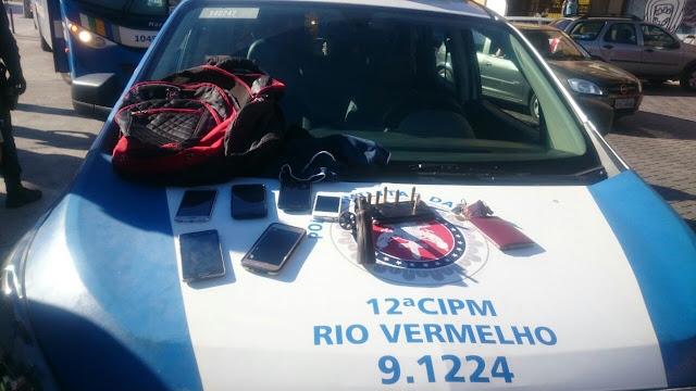 Policiais da 12ª CIPM perseguem e prendem assaltante de ônibus no Rio Vermelho