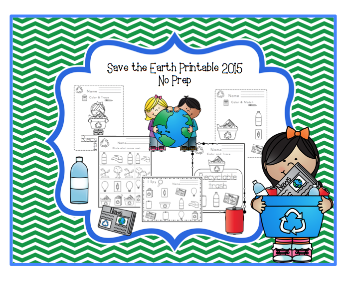 save the earth printable 2015 no prep preschool printables. Black Bedroom Furniture Sets. Home Design Ideas