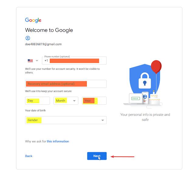 أدخل التفاصيل لإنشاء حساب Google
