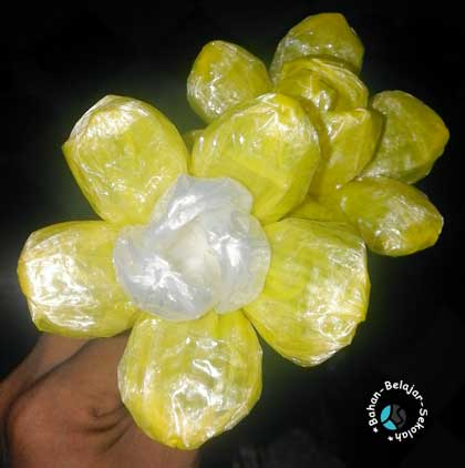 kreasi bunga dari tali plastik