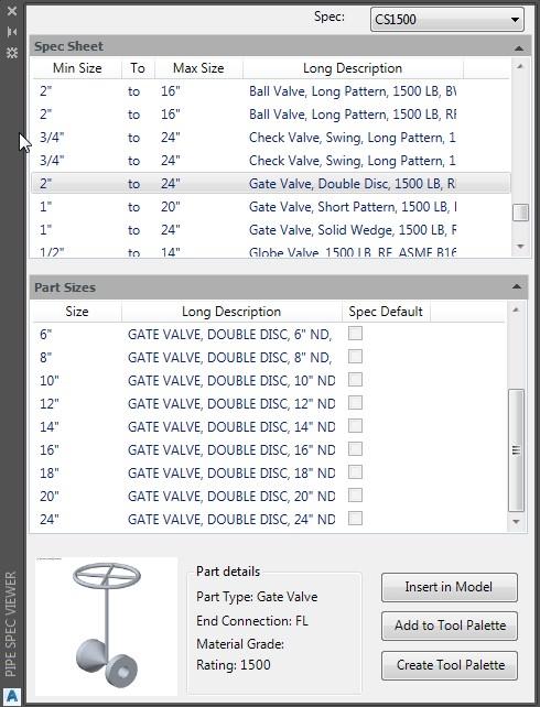AutoCAD Plant 3D herramienta del Spec Viewer