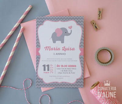 convite elefantinha rosa cinza chevron