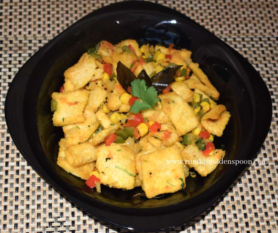 Bread Upma, Indian Breakfast, Quick and Easy, Leftover recipes, Vegan recipe, Vegetarian recipe, Rumki's Golden Spoon
