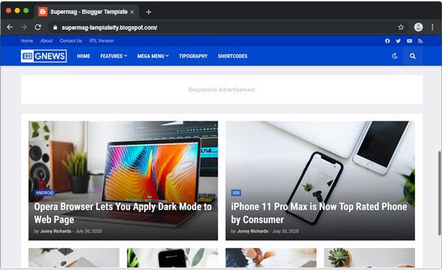 GNews - Responsive & Fast Loading Blogger Template