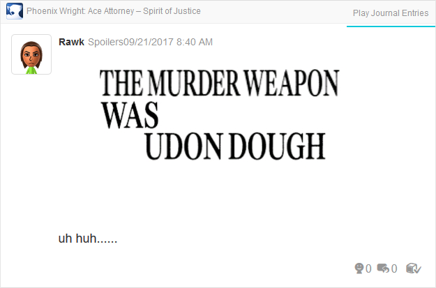 Phoenix Wright Ace Attorney Spirit of Justice udon dough murder weapon