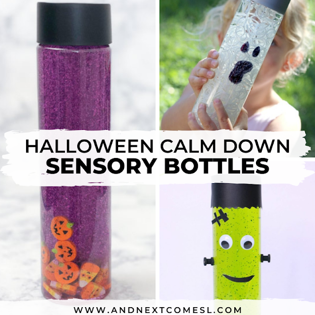 Halloween themed sensory bottles