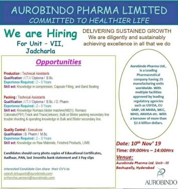 Jkb Openings for multiple positions on 10th November, 2019 @ Aurabindo Pharmaceuticals