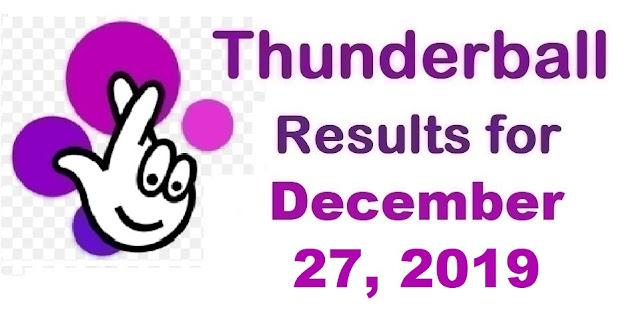 Thunderball Results for Friday, December 27, 2019