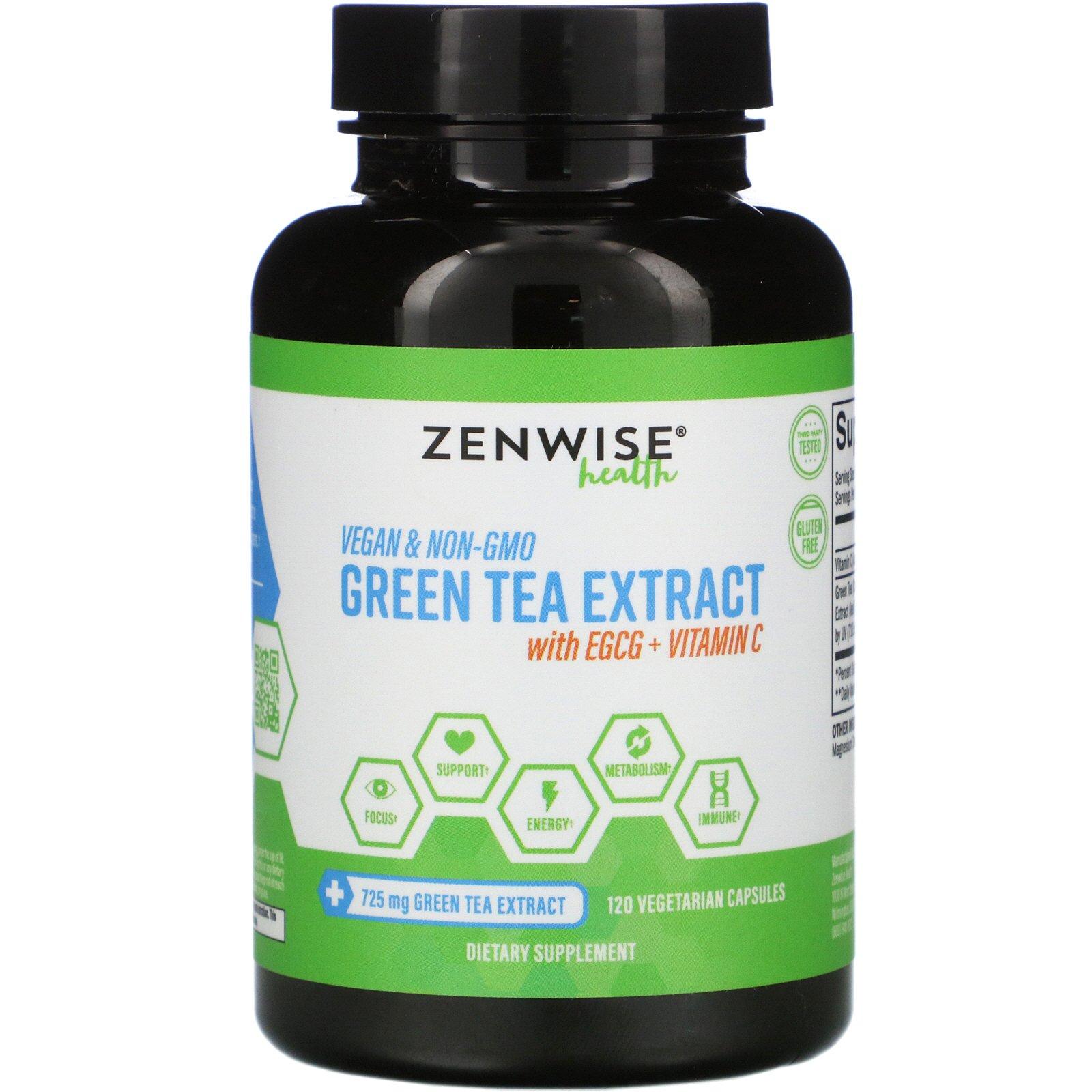Zenwise Health, Экстракт зеленого чая с EGCG и витамином C, 120 растительных капсул