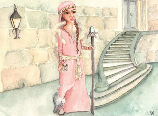 Whimsical Medieval Slavic Healer Watercolor Illustration