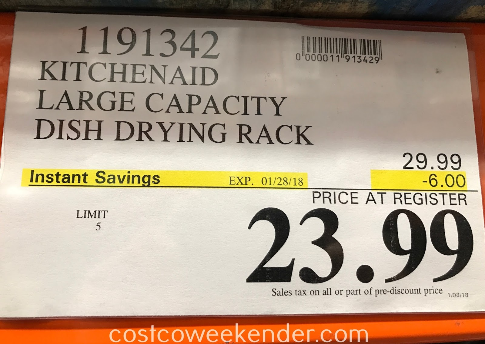 Deal for the KitchenAid Large Dish-Drying Rack at Costco
