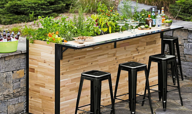 Patio bar sets made of wood