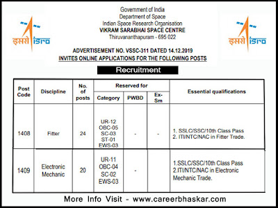 vssc recruitment 2019-20, vssc recruitment 2020, vssc vacancy, www.vssc.gov.in recruitment 2020, www.vssc.gov.in 2020, vssc sarkari naukri 2020 vssc bharti 2019-20.