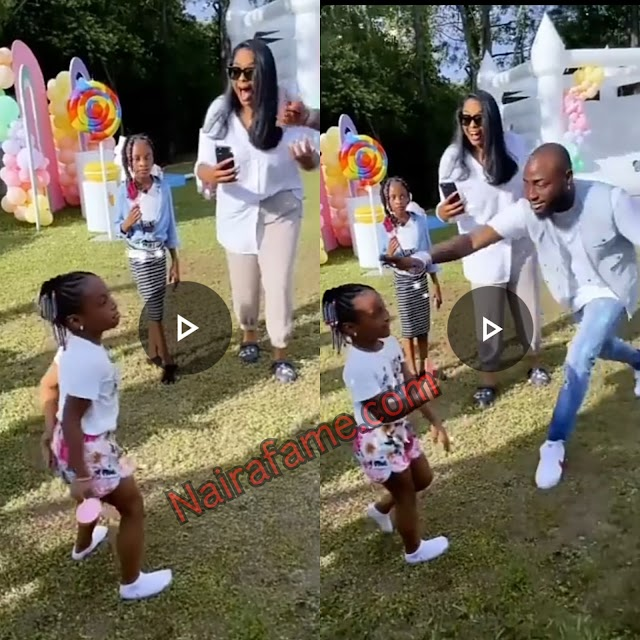 The moment singer Davido spanked his daughter, Hailey, for trying to twerk at her birthday party in the U.S.A