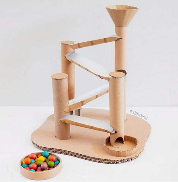 epic marble run made from cardboard tubes